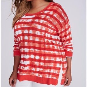 Lane Bryant Red Striped Tie Dye Sweater 18/20